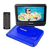 TENKER 9.5' Portable DVD Player with Swivel Screen, Rechargeable Battery and SD Card Slot & USB Port, Blue