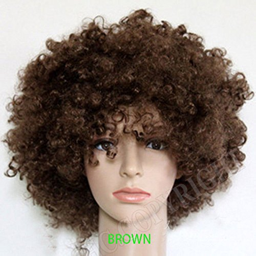 [S.P.S Party Clown Disco Wig Make up Accessorie Fake Hair Wear (Brown)] (Circus Style Dance Costumes)