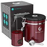 Coffee Gator Stainless Steel Container - Canister with co2 Valve, Scoop and Travel Jar - Medium, Red