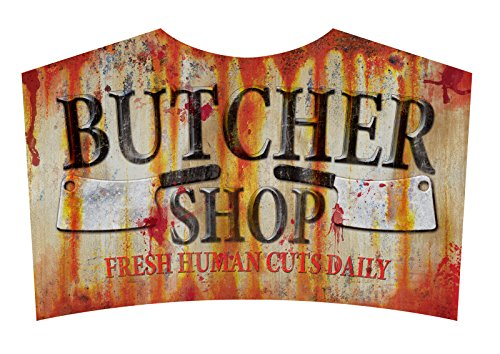 Butcher Shop Sign Metal Halloween Zombie Apacolypse Decoration Horror (Butcher Costumes Halloween)