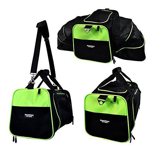 DTPS - Expandable Foldable Airline Approved Pet Travel Carrier for Small Dogs and Cats, (Green, Small)