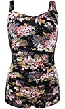 Women's Vintage Floral Print Halter One Piece Boyleg Swimwear Swimsuit Black