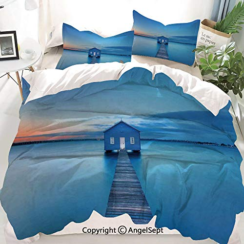 - Lake House Decor Decor Duvet Cover Set King Size,Sunrise Over Water Lakehouse Cabin Boardwalk Sunlight Clouds Horizon Nature,Decorative 3 Piece Bedding Set with 2 Pillow Shams
