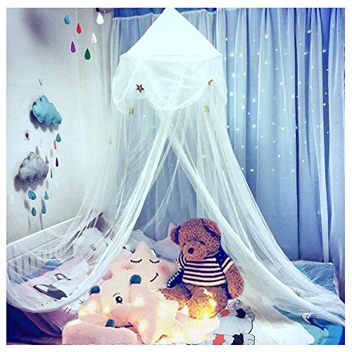 Hidecor Mosquito Net Bed Canopy Netting Princess Stars Indoor Outdoor Dome Play Bed Tent Girls Boys Kids,White