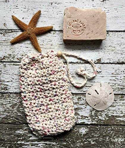 Handmade Large Soap Bag Heather Beige Organic Cotton Drawstring Bag Soap Saver Pouch Spa Bath Crochet Washcloth