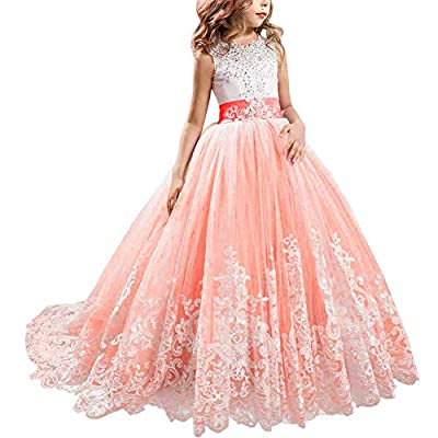 KSDN Full Length Lace Bodice Tulle Ball Gown Flower Girl Communion Dresses
