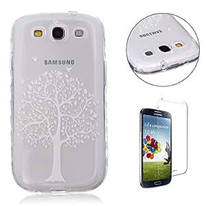Funda CaseHome Samsung Galaxy S3 Silicone Gel Carcasa(Con HD Pantalla Protectora),[Árbol Azul] Transparente Ligera Ultra Delgado Dure Antideslizante Alta Suave TPU Caucho
