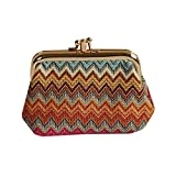 Rainbow Zig-Zag Design Tapestry Double Clasp Frame Coin Change Purse by Signare (FRMP-AZT)