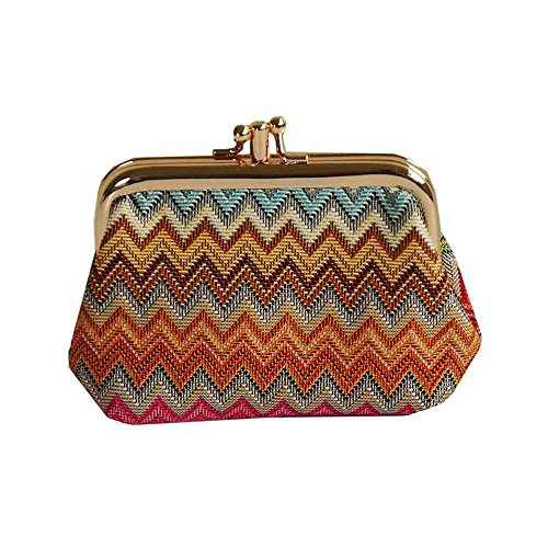 Rainbow Zig-Zag Design Tapestry Double Clasp Frame Coin Change Purse by Signare (FRMP-AZT) ()