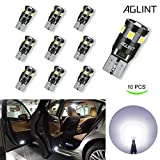 AGLINT T10 921 192 Wedge LED Bulb Canbus Error Free for Car Dome Map Door Courtesy License Plate Lights (Pack of 10)