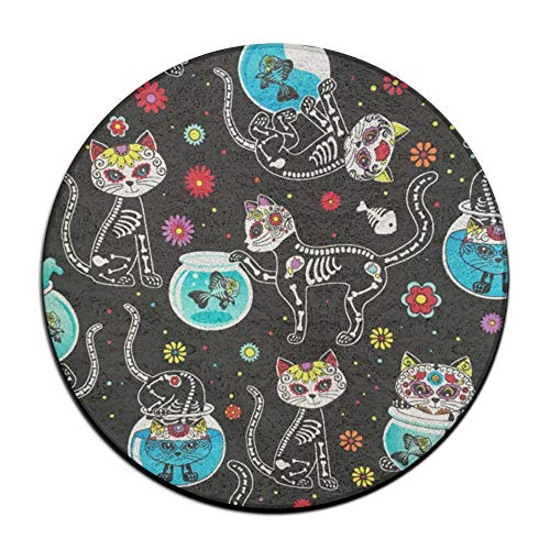 ZHYPMNU Sugar Skull Black Cats Non Skid Door Mat Soft Memory Foam Pads (23.6 Inch) Indoor/Outdoor/Front Absorbent Circular Carpet Round Area Rug -