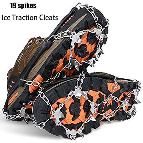 iBccly 19 Spikes Crampons Walk Traction Cleats, Upgraded Version of Walk Traction Ice Cleat Spikes Crampons, for Walking on Snow and Ice for Hiking Fishing Jogging Mountaineering Climbing (Black, M)