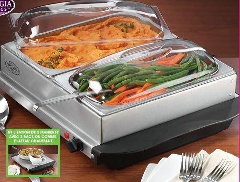 Uzo1 Buffet Server / Food Warming Tray (Stainless Steel / Black / Clear) (7
