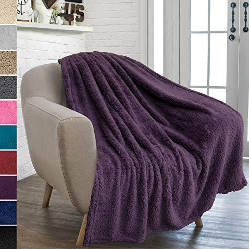 PAVILIA Plush Sherpa Throw Blanket for Couch Sofa | Fluffy Microfiber Fleece Throw | Soft, Fuzzy, Cozy, Lightweight | Solid Plum Purple Blanket | 50 x 60 Inches (Plum Fleece Blanket)