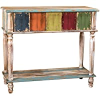 Leo Solid Wood 2 Drawer Console Table in Antique Weathered Multi-Color Style