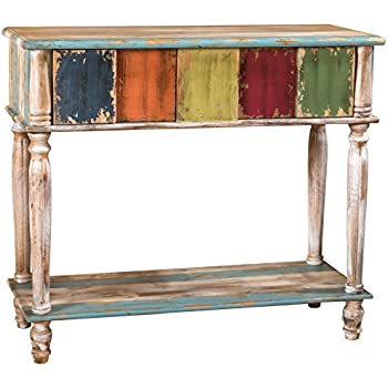 Amazoncom Leo Solid Wood 2 Drawer Console Table in Antique