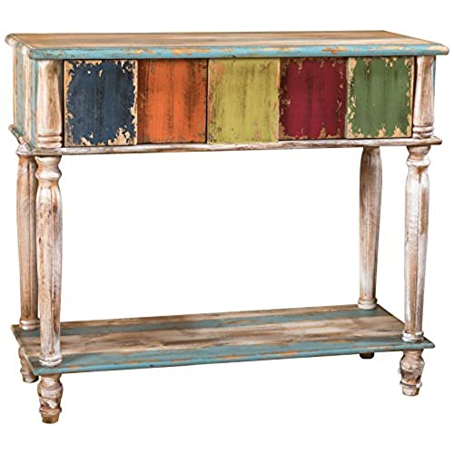 Leo Solid Wood 2 Drawer Console Table In Antique Weathered Multi Color Style
