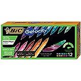 BIC Gel-Ocity Quick Dry Gel Pens, Medium Point Retractable Gel Pen (0.7mm), Assorted Colors, 12-Count