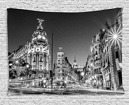 JAKE SAWYERS Black White Decorations Tapestry, Madrid City Night Spain Main Street Ancient Architecture, Wall Hanging Bedroom Living Room Dorm, 80 W X 60 L inches, Grey by JAKE SAWYERS