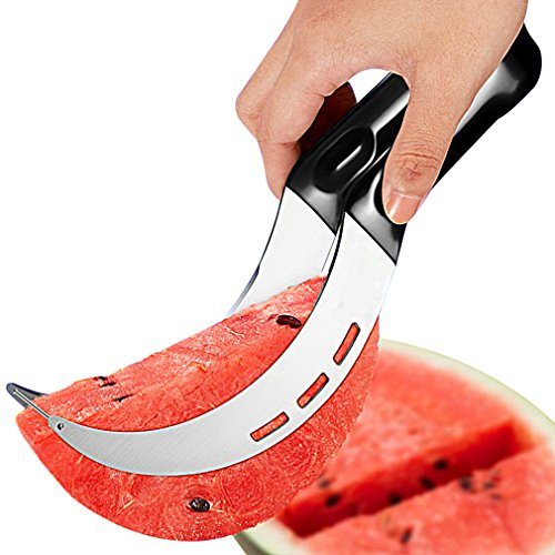 Watermelon Slicer, Watermelon Cutter Corer, Multifunctional Stainless Steel Fruit Cutter, Watermelon Slicing Knife, All in One Kitchen Fruit Tool with Rubber Handle (Black)