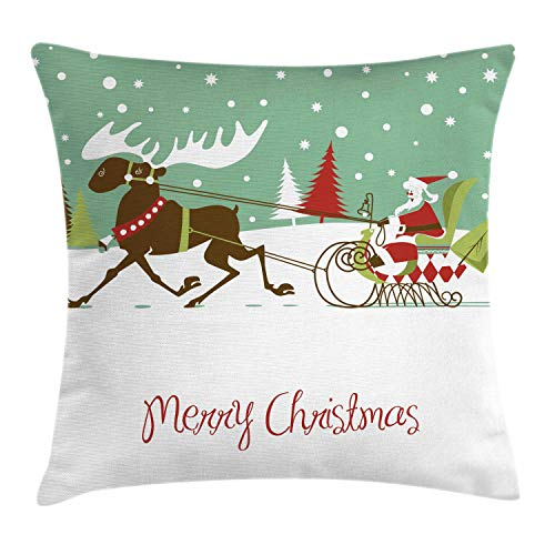 (Lunarable Texas Throw Pillow Cushion Cover, Merry Christmas Lettering Santas Sleigh with Reindeer Snowy Woods Retro Style, Decorative Square Accent Pillow Case, 26 X 26 Inches, Multicolor)