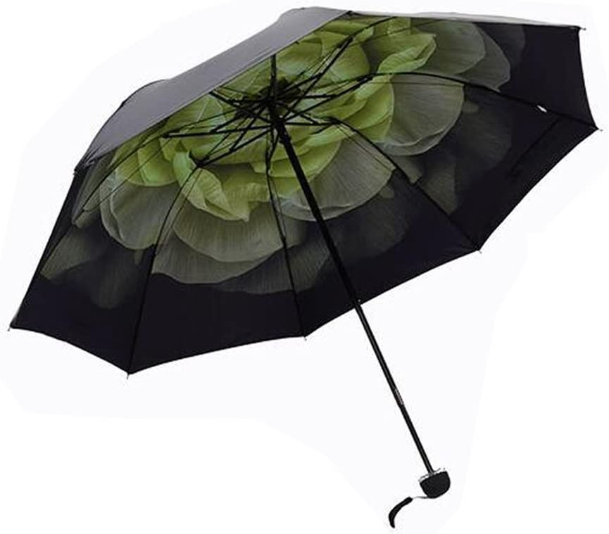 UV Protection Small Black Parasol 3 Folding Umbrella Great for Sunny and Rainy Day with Flower Contrast Lining LOHOME Ultralight Sun Umbrella White