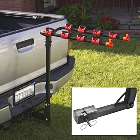Deluxe 4 Bike Hitch Mount Rack with 1-1/4 or 2 Inch Receiver Bicycle Carrier Rack Hitch Car Truck SUV Swing Away