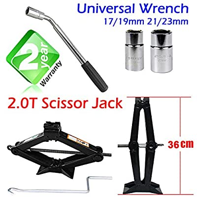 Yiya Car Scissort Jack 2 Ton Height 90MM to 360MM with Extendable Wheel Wrench with 17/19 19/23mm Standard Sockets for Car Truck Van