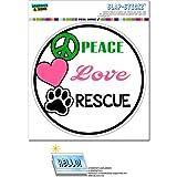 peace love cats decal - Peace Love Rescue - Adopt Animal Shelter Pet Dogs Cats Paw Print Circle SLAP-STICKZ(TM) Automotive Car Window Locker Bumper Sticker