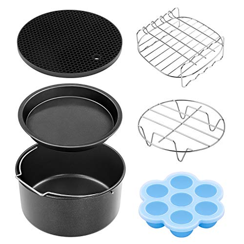 COSORI Air Fryer Accessories(C137-6AC), Set of 6, Fit All Brands Air Fryers 6Pcs Include Rack with Skewers,Metal Holder,Nonstick Pizza Pan,Cake Pan,Silicon Mat & Egg Mold for 3.7, 4.2, 5.3, 5.5, 5.8QT