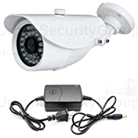 USG 1,000TVL Bullet Security Camera + Bonus Free Power Supply: 3.6mm Wide Angle Lens, 24x IR LEDs For 65 Feet Of Nighttime Protection, IP66 Weatherproof, 1/3 Super CMOS Chip, Built-In IR Cut Filter