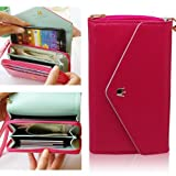 Flip Cover Zipper Envelop Wallet Purse Case For Samsung Galaxy S6 S5 Note 2 note 3 S2 S3 Mega 5.8 6.3 N7100 N9000 i9600 (rose red)