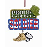 """PROUD OF MY SOLDIER"" SIGN WITH BOOTS AND DOG TAGS DANGLE ORNAMENT"