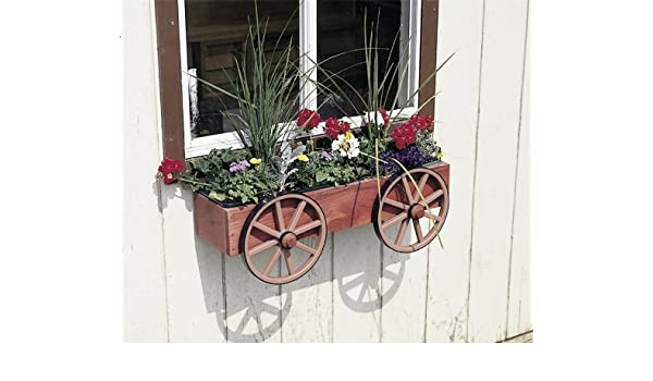 Amazon Com Dutchcrafters Wagon Wheel Rustic Window Box Planter