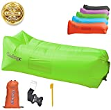 Upgraded 2019 Giant Inflatable Lounger Chair Hangout Sofa with 10 Useful Accessories in 8 Fun Colors! Waterproof Inflatable Couch Bed for Indoor, Outdoor, Pool, Beach, Camping and More! (Green)