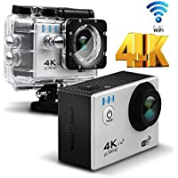 [With Remote Control] 4K 1080P Wireless Remote Sports Camera - HEIHEI F60R 2.0 Inch 170 Degree Ultra-Wide Angle Lens Waterproof Sports Action Camera Diving Cam DV Camcorder with Accessories