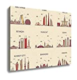 Ashley Canvas Arabian Peninsula Skylines Line Art Style 16x20