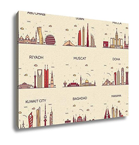 Ashley Canvas Arabian Peninsula Skylines Line Art Style Wall Art Decor Stretched Gallery Wrap Giclee Print Ready to Hang Kitchen living room home office, 24x30 by Ashley Canvas
