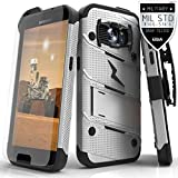 Zizo Bolt Cover For Samsung Galaxy S7 [.33mm 9H Tempered Glass Screen Protector] included |Military Grade| Case + Kickstand + Lanyard + Holster Clip (Gray/Black)