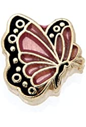 October Butterfly Enamel Birthmonth Charm for Floating Lockets