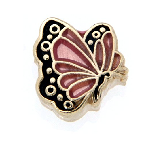 October Butterfly Enamel Birthmonth Charm for Floating Lockets, Goldtone