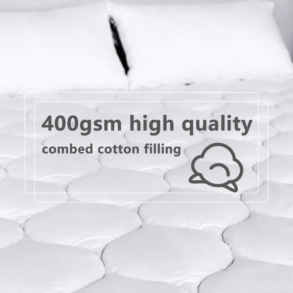 Bedease Twin Mattress Pad Cover Soft Mattress Topper 300TC Cotton Top Premium Fillers with 8-21 Deep Pocket