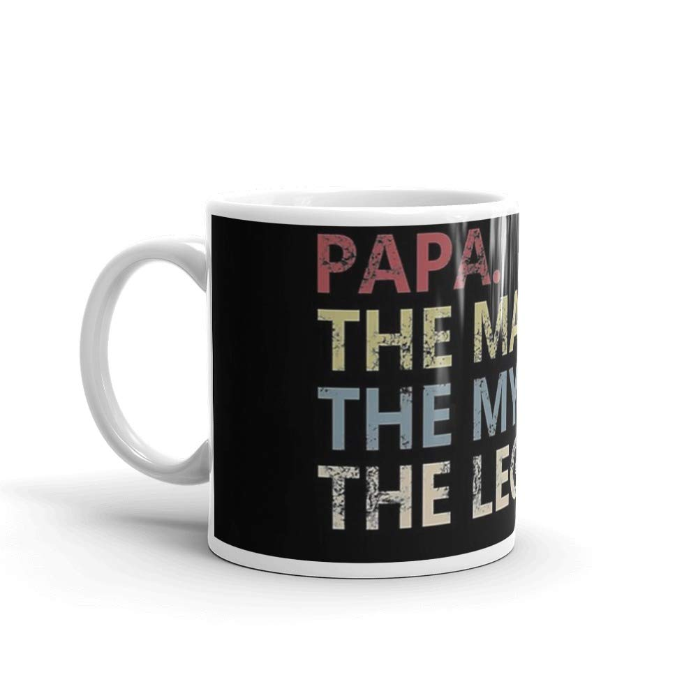 Mens The Man The Myth The Legend Shirt for Mens Papa Dad Dad. 11 Oz Classic Coffee Mugs, C-handle And Ceramic Construction
