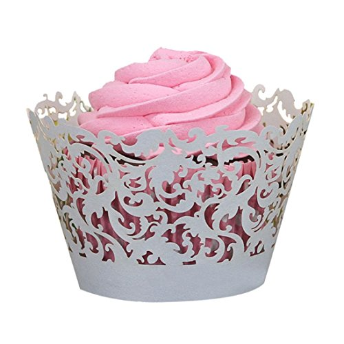 AutumnFall(TM) 50pc Cupcake Wrapper Liner Baking Cup Halloween Muffin Lace Laser Cut Baking Cup Muffin (Gray) -