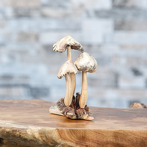 - Hand Carved 3 Mushrooms Carvings Wood Parasite ornament