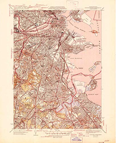 YellowMaps Boston South MA topo map, 1:31680 Scale, 7.5 X 7.5 Minute, Historical, 1946, 20.8 x 17 in - Polypropylene