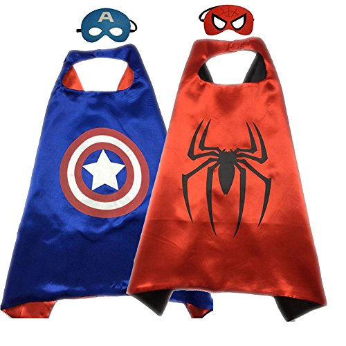 Superhero Costume Super Hero Cape And Mask Dress Up 2 Set For Kids (Captain America-Spider)