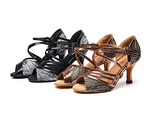 Ladies Synthetic High Wedding 2 UK Strappy Shoes 5 Dance MINITOO Latin Fashion Sandals Heel Bronze qdXgdI1