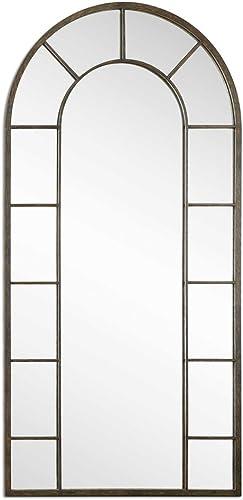 Intelligent Design Full Length Black Arch Window Pane Mirror