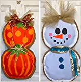 Large Dual Sided Pumpkin Stack and Snowman Door Hanger